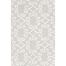 Scroll Platinum Micro Hooked Wool Rug