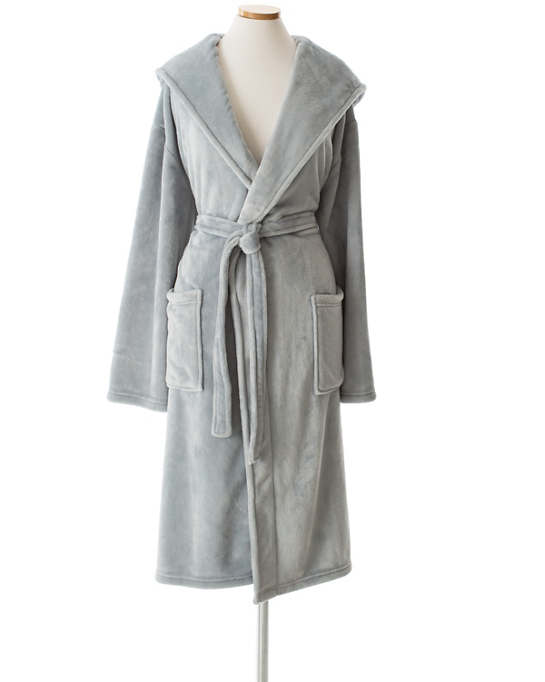 Selke Fleece Dusty Blue Hooded Robe