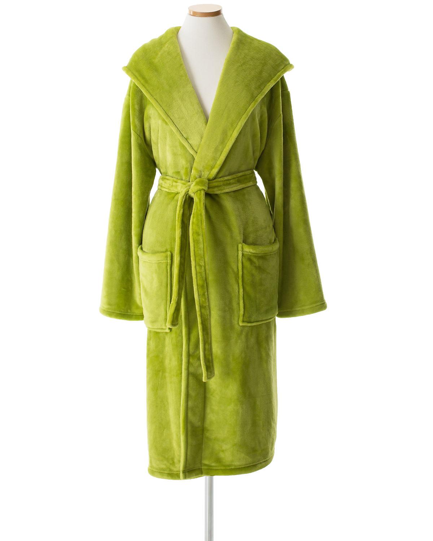 Selke Fleece Green Hooded Robe