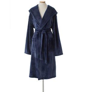 08640393fa Selke Fleece Indigo Hooded Robe