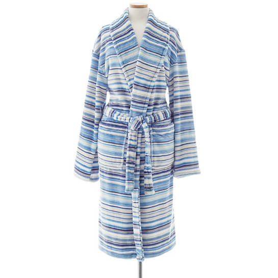 Selke Fleece Lagoon Stripe Robe