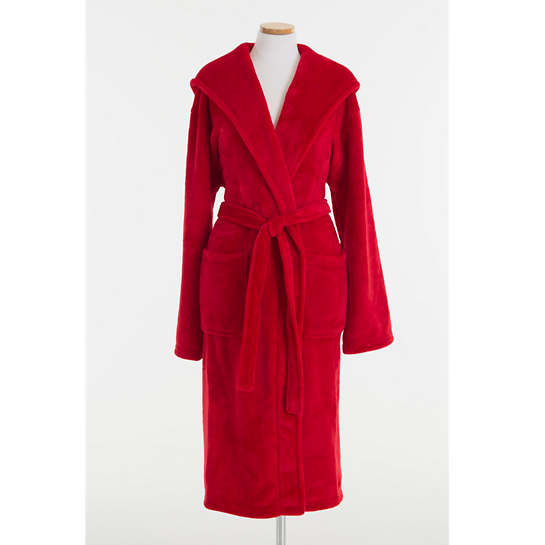 Selke Fleece Red Hooded Robe