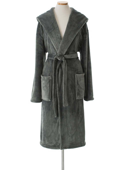 Selke Fleece Shale Hooded Robe