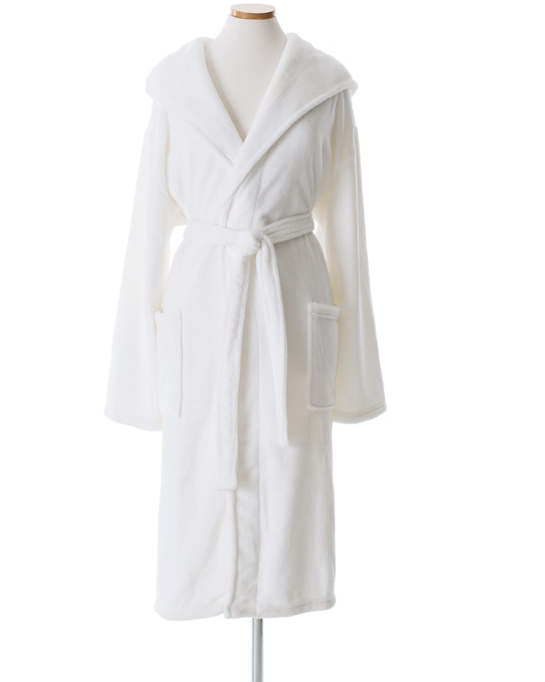 Selke Fleece White Hooded Robe