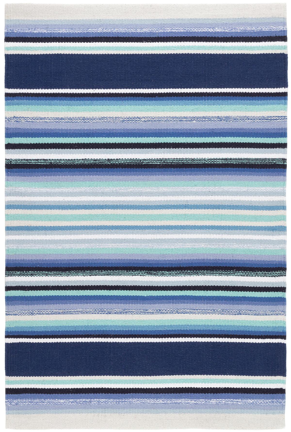 Serape Blue Woven Cotton Rug