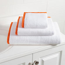 Signature Banded White/Tangerine Towel