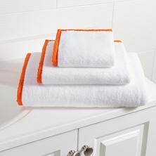 Signature Banded White/Tangerine Towel