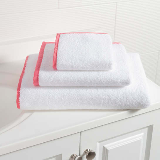 Signature Banded White/Coral Towel