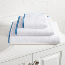 Signature Banded White/French Blue Towel