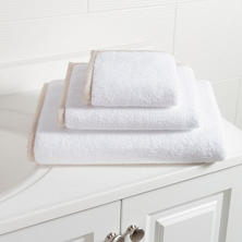 Signature Banded White/Pearl Grey Towel