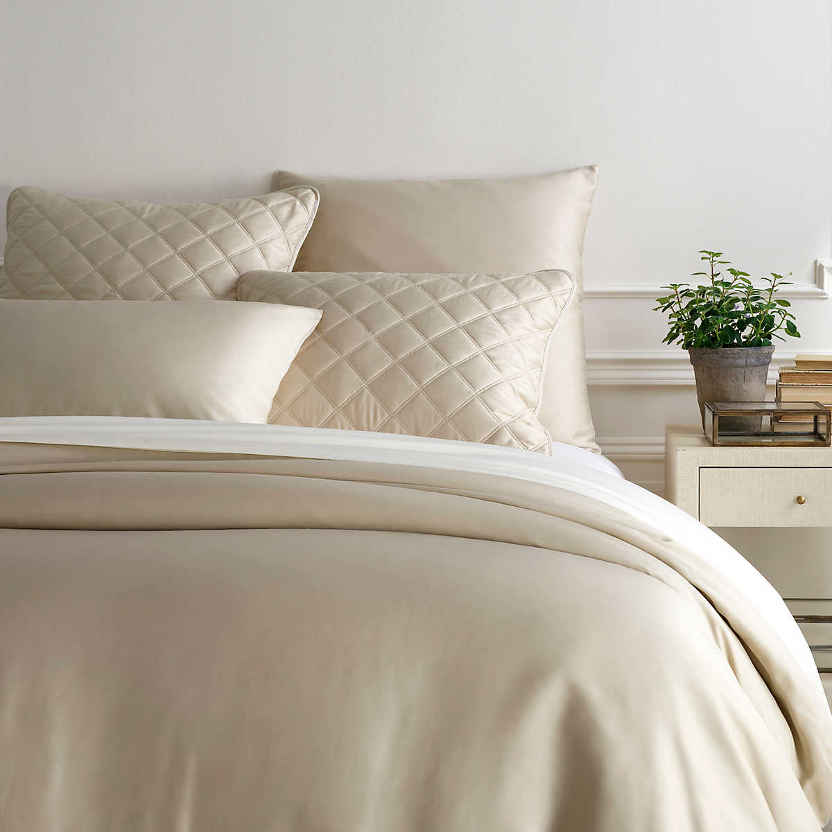 Silken Solid Sand Duvet Cover Pine Cone Hill