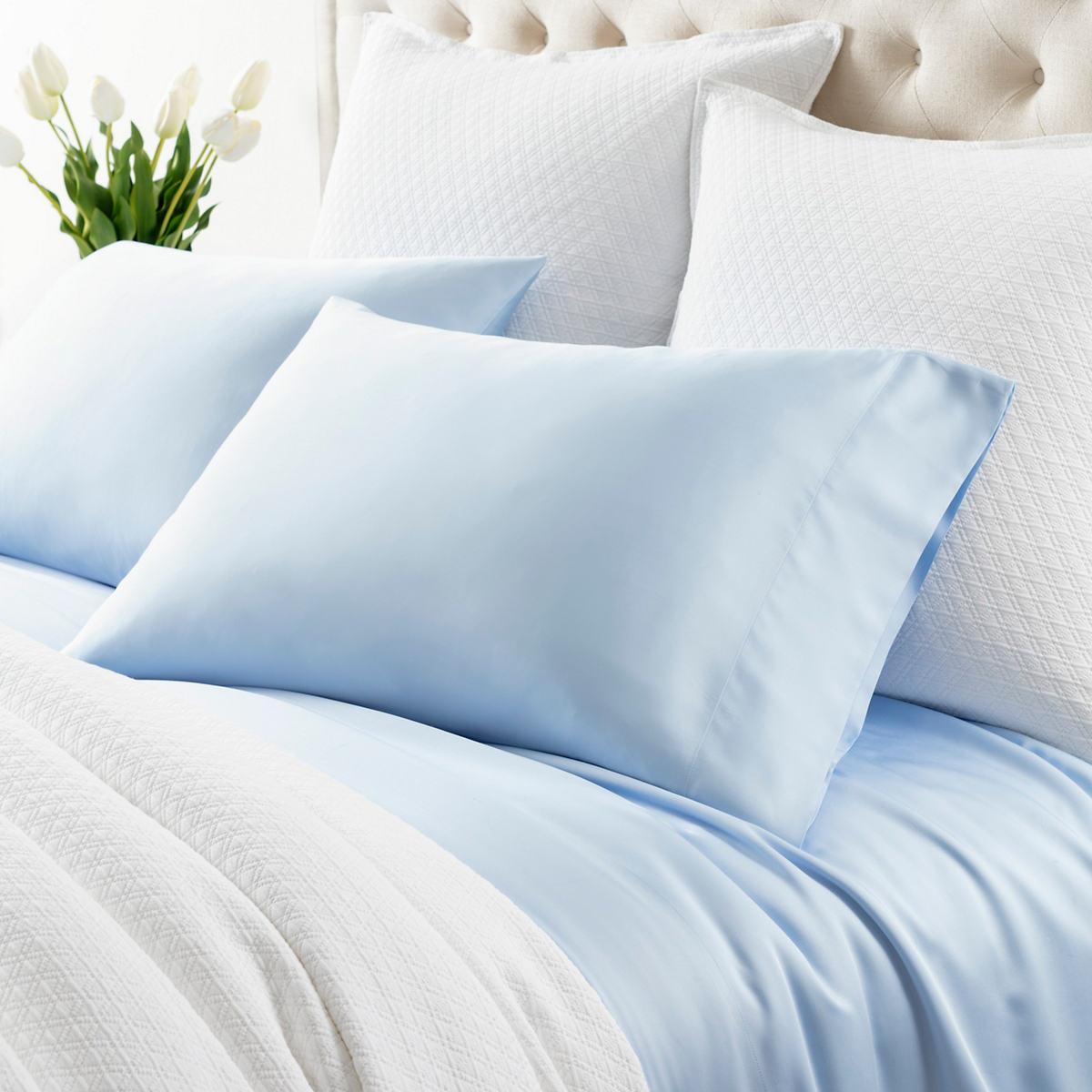 Silken Solid Soft Blue Pillowcases