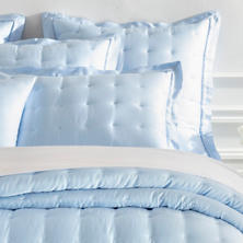 Silken Solid Soft Blue Puff Sham