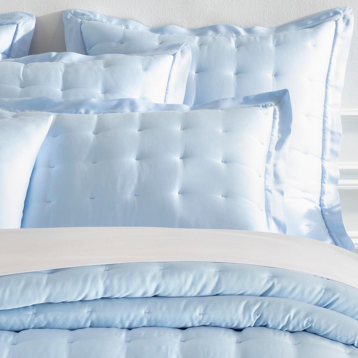 Silken Solid Soft Blue Puff Sham