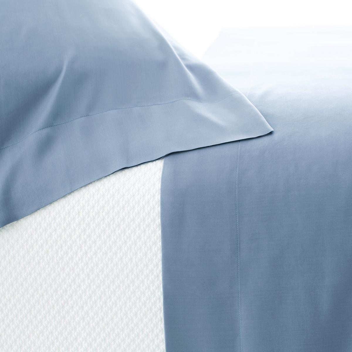 Silken Solid Storm Blue Pillowcases (Pair)