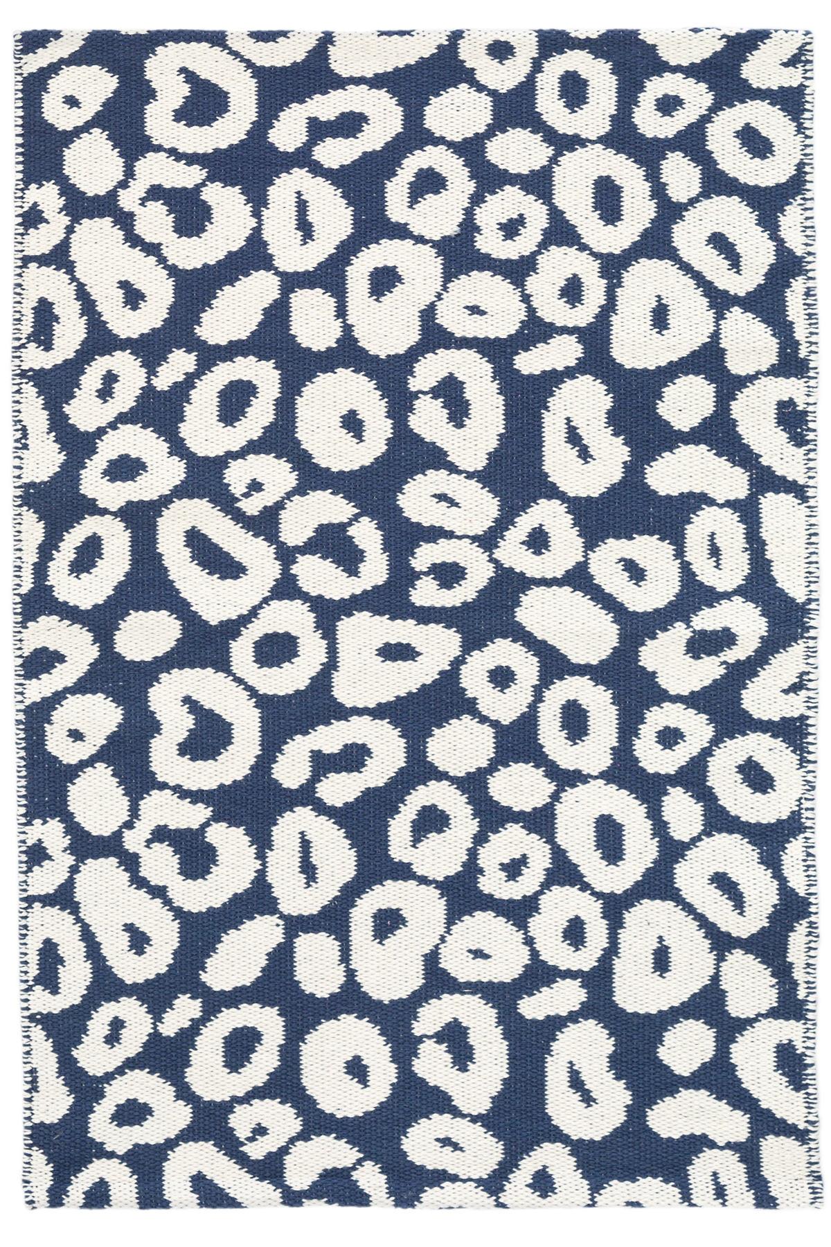 Spot Indigo Woven Cotton Rug