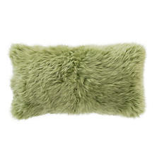 Spring Green Longwool Combed Sheepskin Decorative Pillow