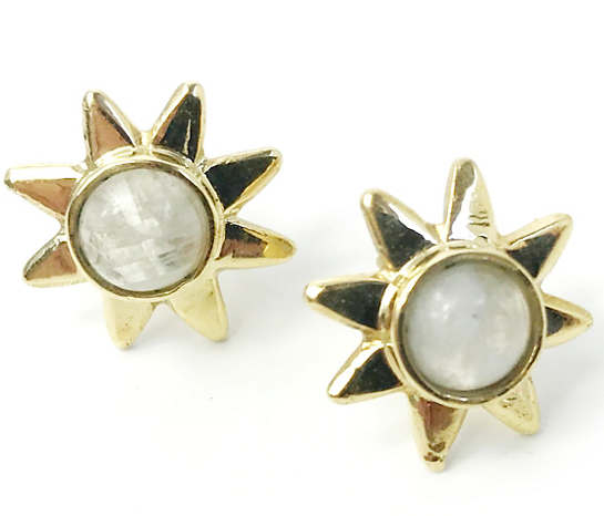 buy rainbow silver moonstone moon stud stone round earrings studs