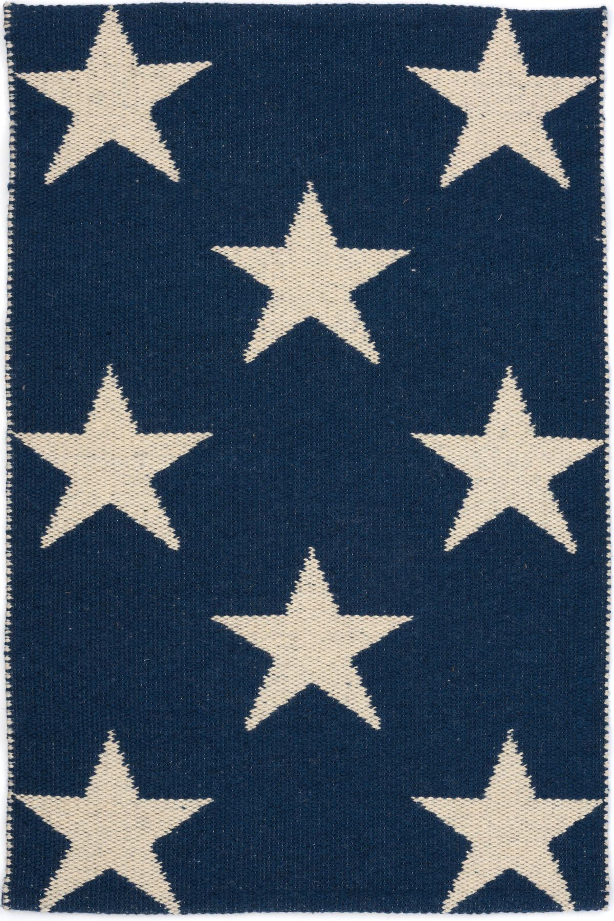 Navy Blue Star Rug - Home Decorating