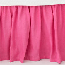 Stone Washed Linen Fuchsia Paneled Bed Skirt