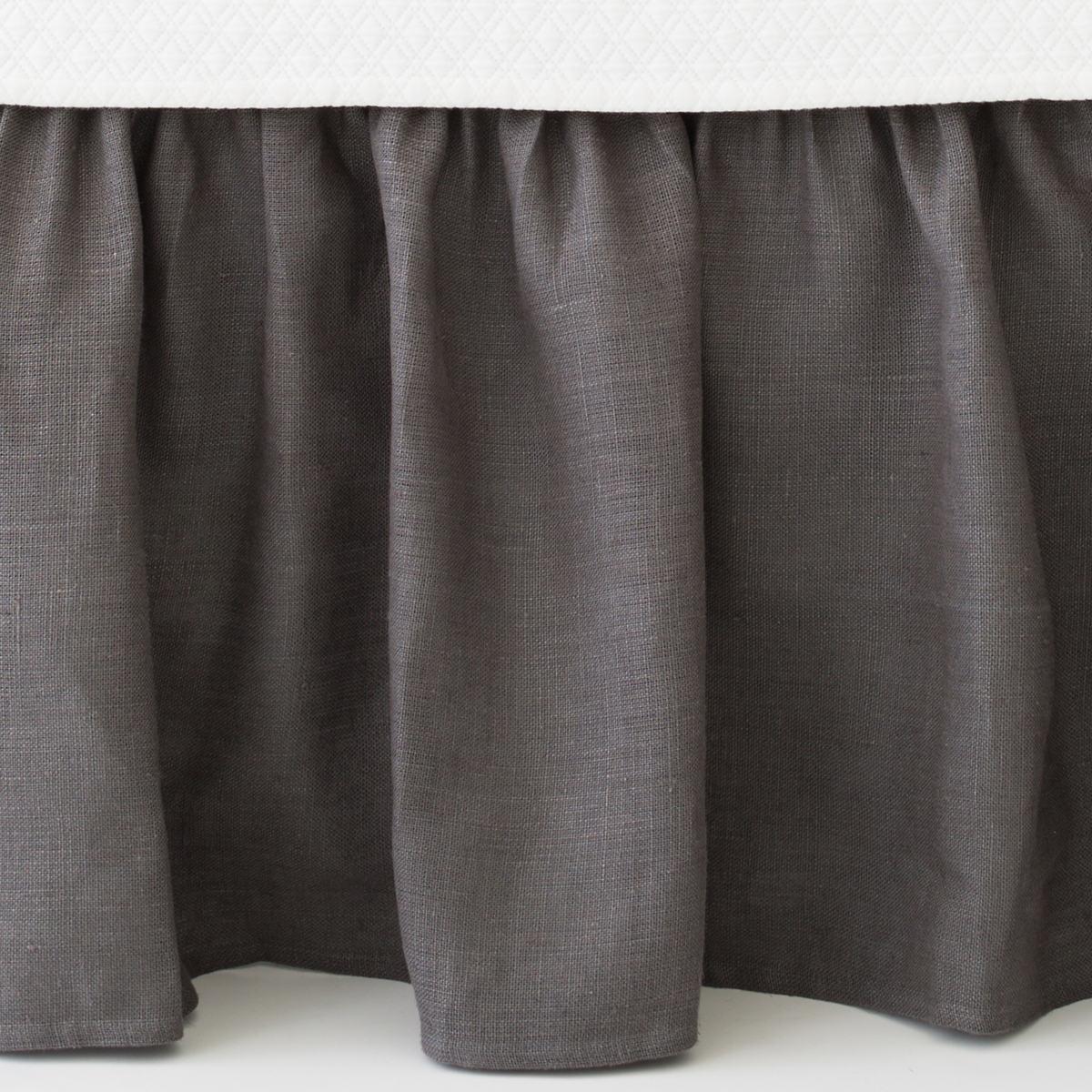 Stone Washed Linen Shale Paneled Bed Skirt