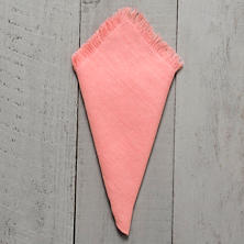 Stone Washed Linen Coral Fringe Napkin/Set Of 4