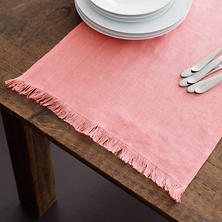 Stone Washed Linen Coral Fringe Table Runner