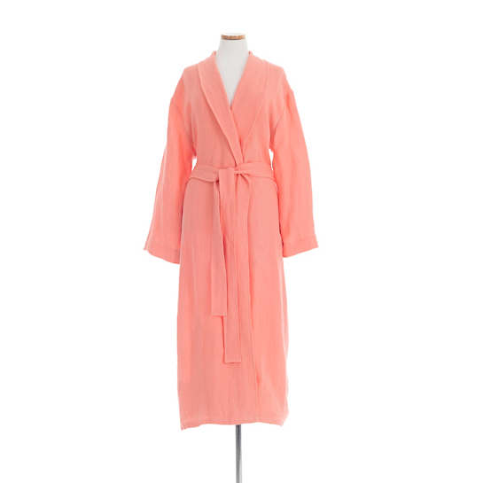 Stone Washed Linen Coral Robe
