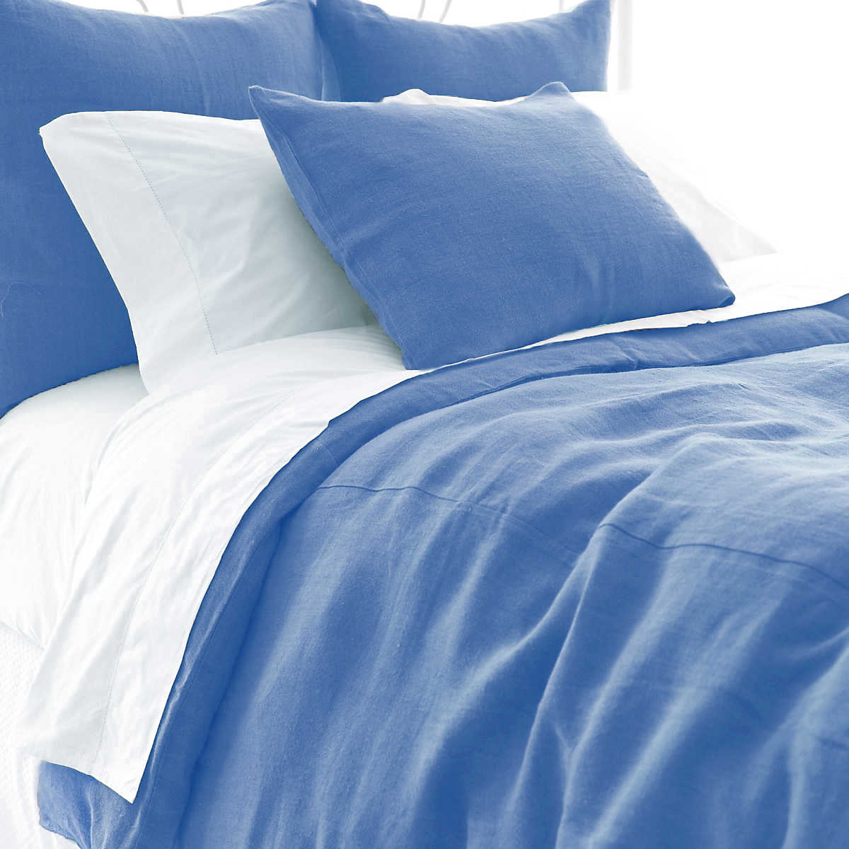 Stone Washed Linen French Blue Duvet Cover The Outlet