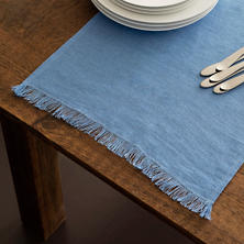 Stone Washed Linen French Blue Fringe Table Runner