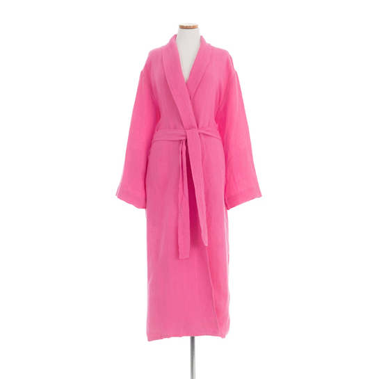 Stone Washed Linen Fuchsia Robe