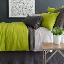 Stone Washed Linen Green Duvet Cover