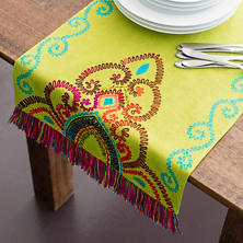 Stone Washed Linen Green Embroidered Table Runner