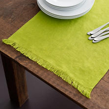 Stone Washed Linen Green Fringe Table Runner