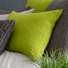 Stone Washed Linen Green Pillowsham