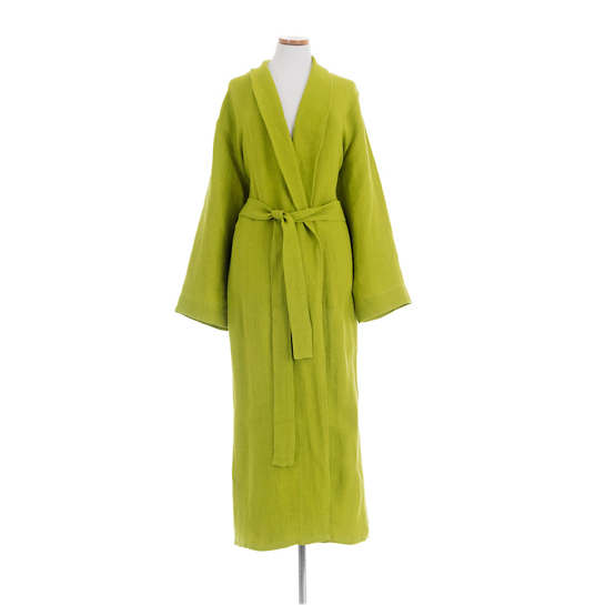 Stone Washed Linen Green Robe