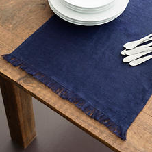 Stone Washed Linen Indigo Fringe Table Runner