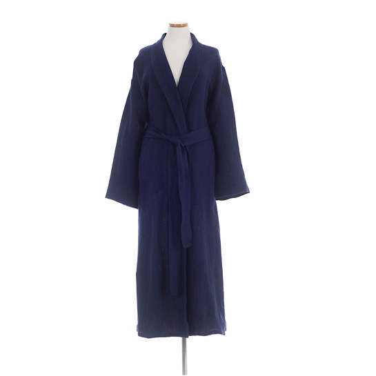 Stone Washed Linen Indigo Robe
