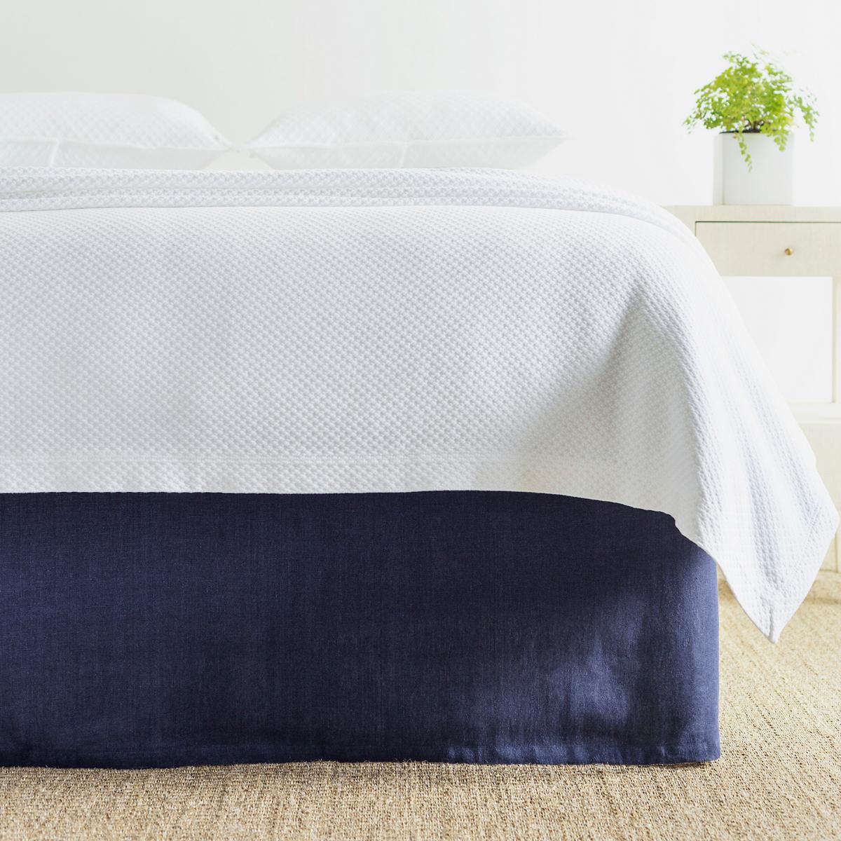 Stone Washed Linen Indigo Tailored Paneled Bed Skirt