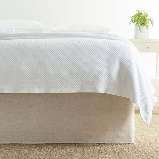 Stone Washed Linen Natural Tailored Paneled Bed Skirt