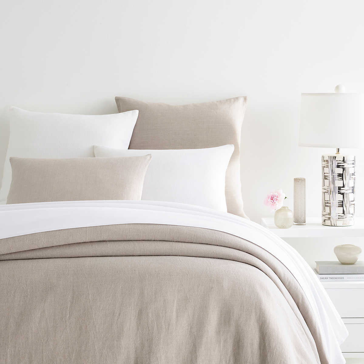 Stone Washed Linen Pearl Grey Duvet Cover Pine Cone Hill