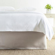 Stone Washed Linen Pearl Grey Tailored Paneled Bed Skirt