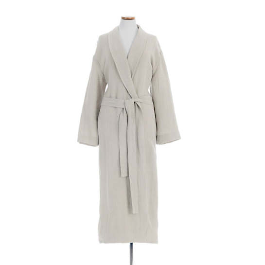 Stone Washed Linen Pearl Grey Robe