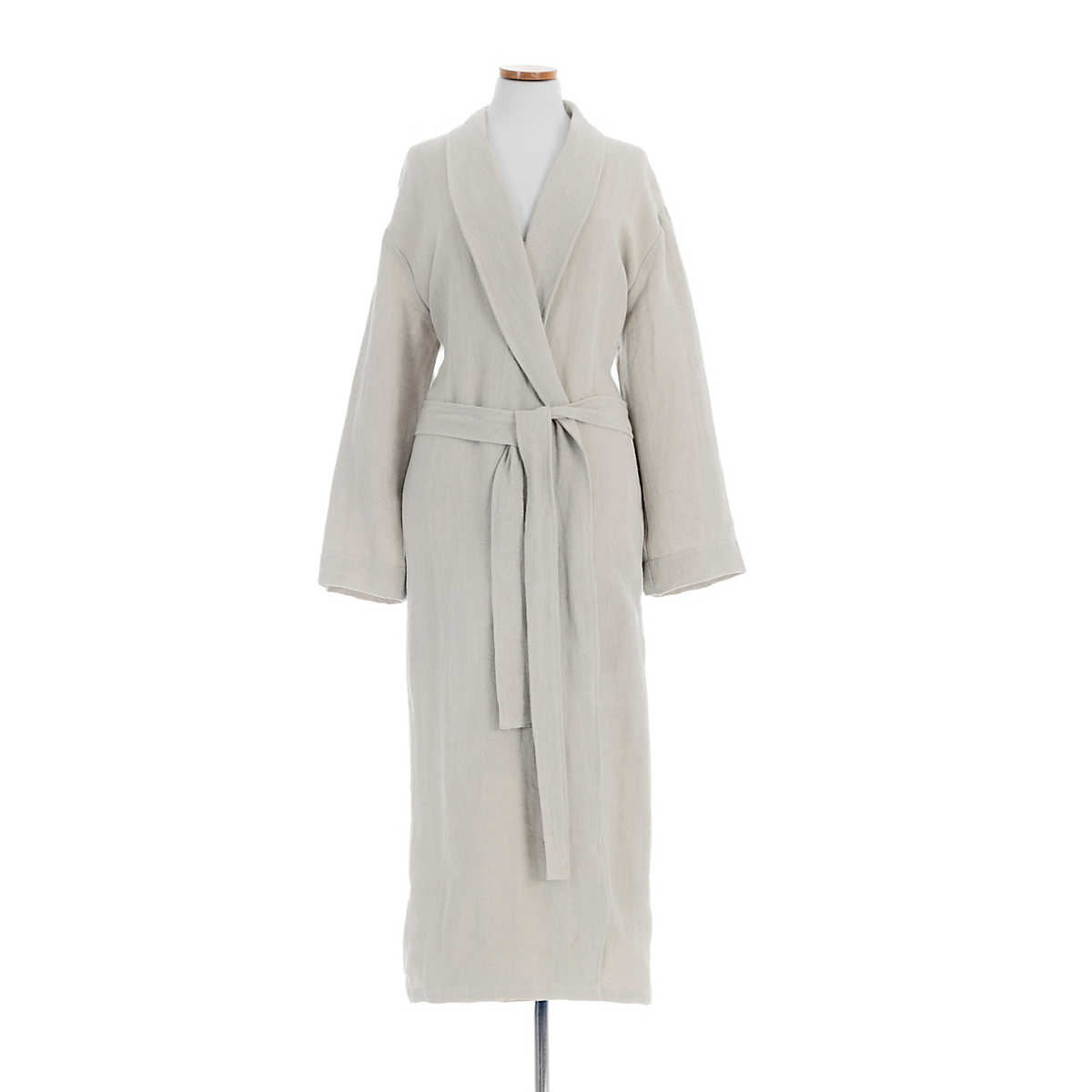 Stone Washed Linen Pearl Grey Robe The Outlet