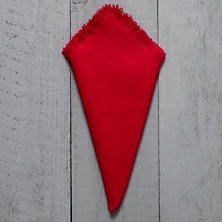 Stone Washed Linen Red Fringe Napkin