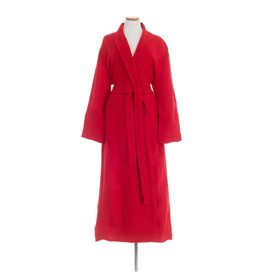 Stone Washed Linen Red Robe