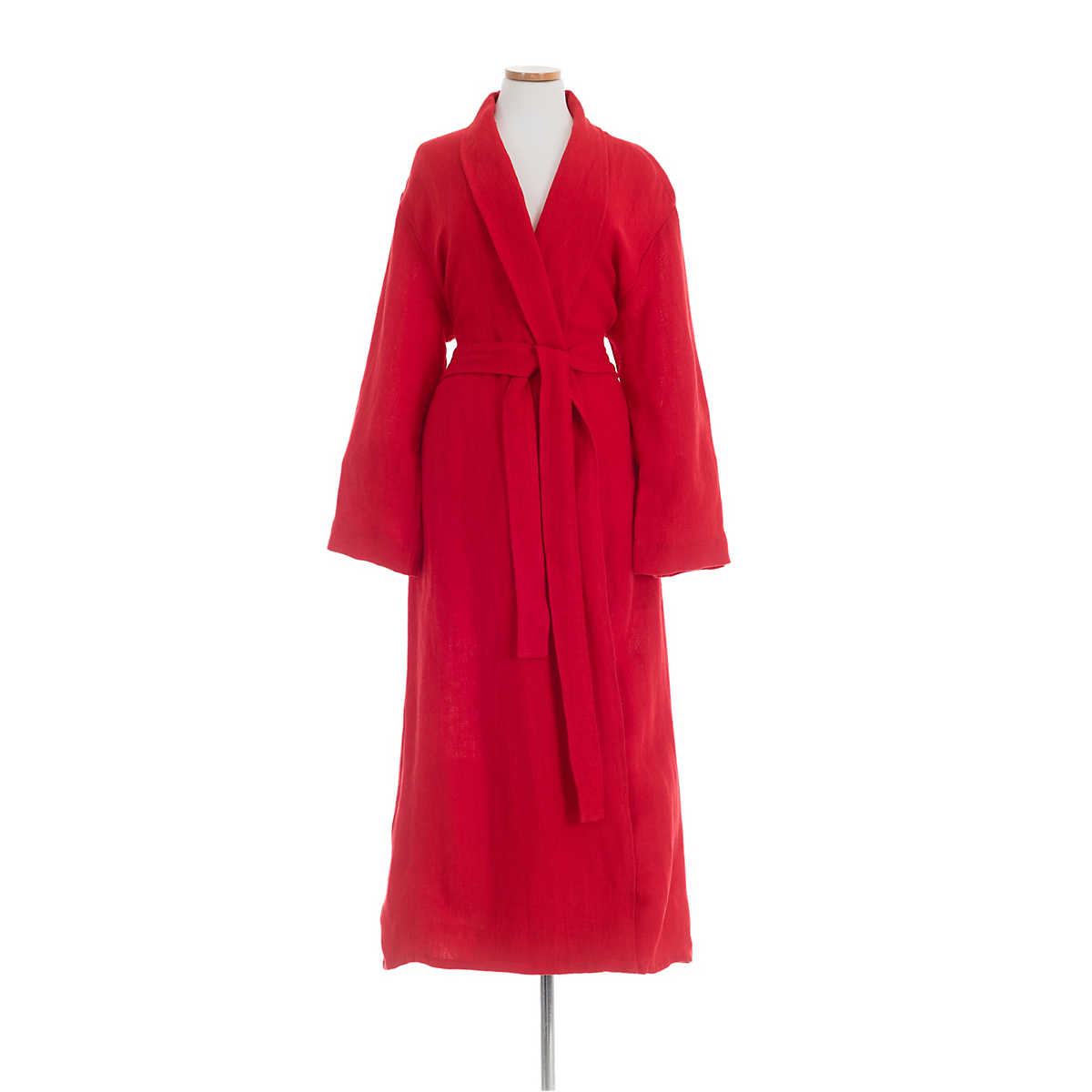 Stone Washed Linen Red Robe The Outlet