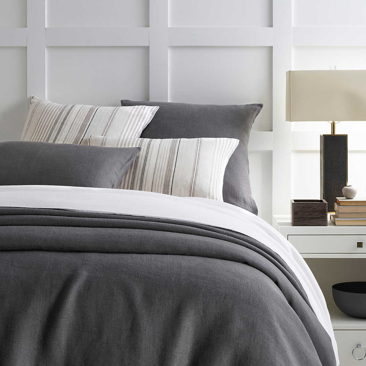 Stone Washed Linen Shale Duvet Cover Pine Cone Hill