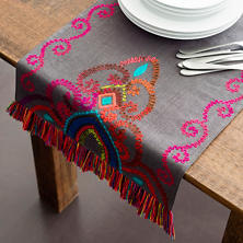 Stone Washed Linen Shale Embroidered Table Runner