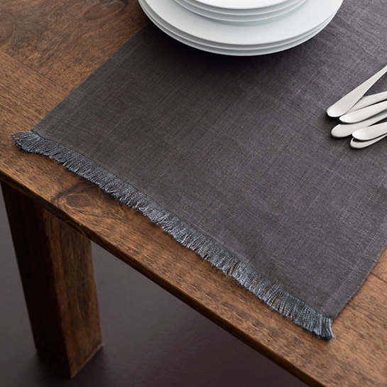 Stone Washed Linen Shale Fringe Table Runner